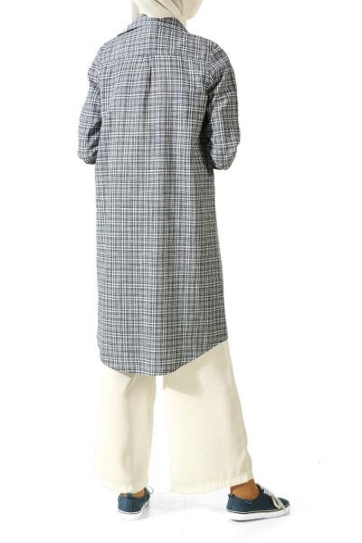 Hidden Button Plaid Shirt Tunic