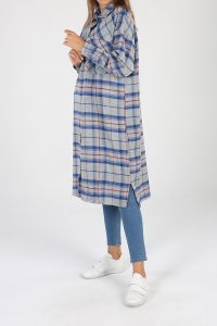 Pocket Plaid Shirt Tunic