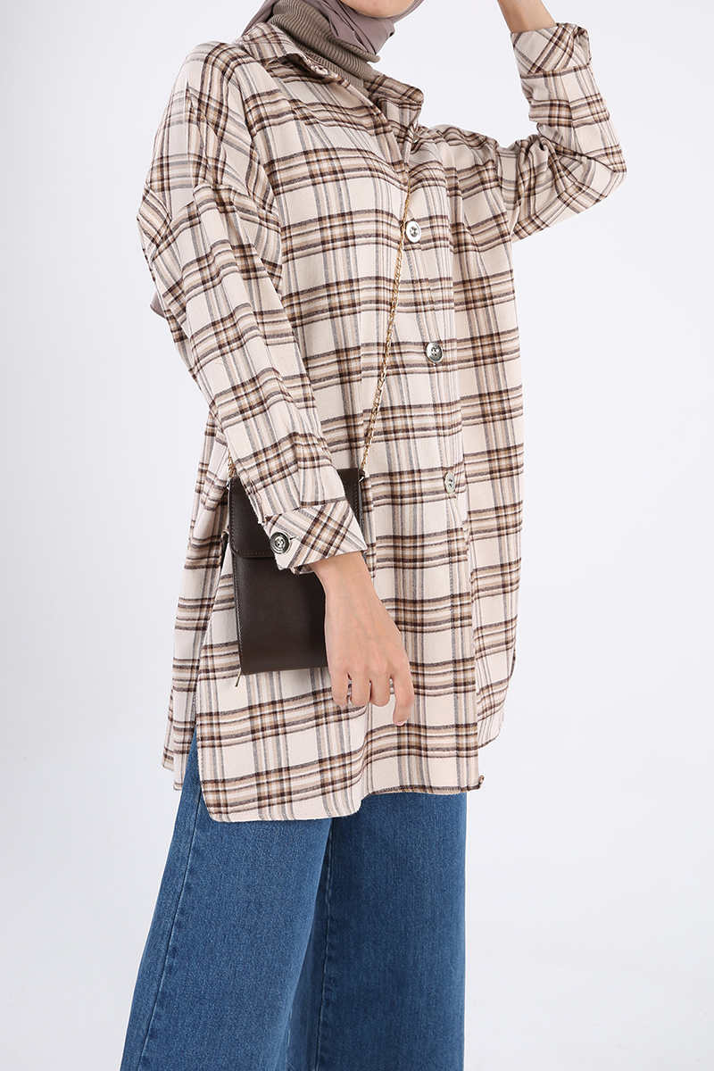 Plaid Buttoned Shirt Tunic