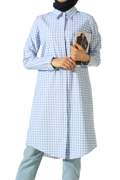 Gizli Patlı Ekose Gömlek Tunik
