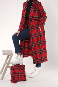 PLAID BELTED CAPE