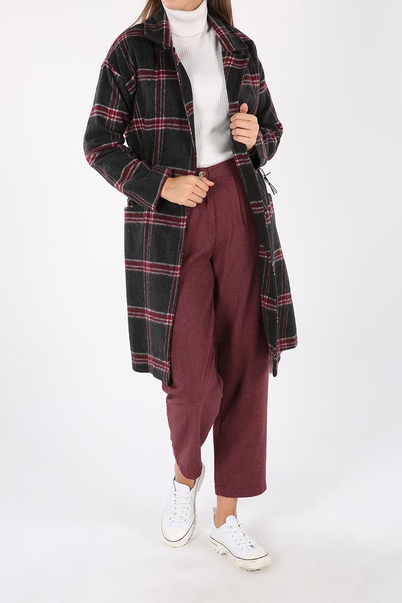 Pocket Detail Buttoned Long Hijab Jacket