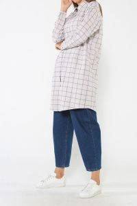 Comfortable Mold Plaid Shirt Tunic
