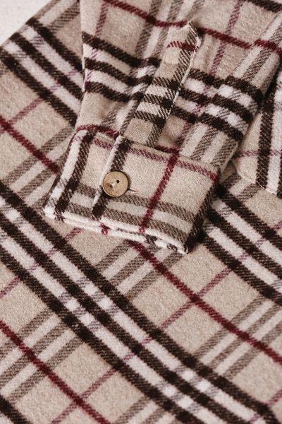 Ekoseli Cepli Düğmeli Uzun Gömlek Tunik
