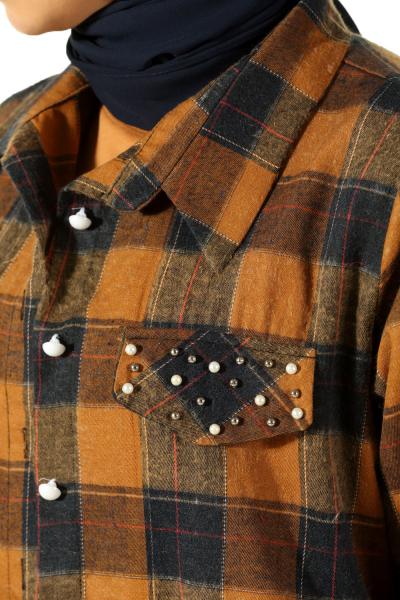 Ekoseli İncili Gömlek Tunik