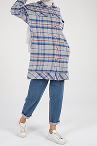 Plaid Buttoned Pocket Cape