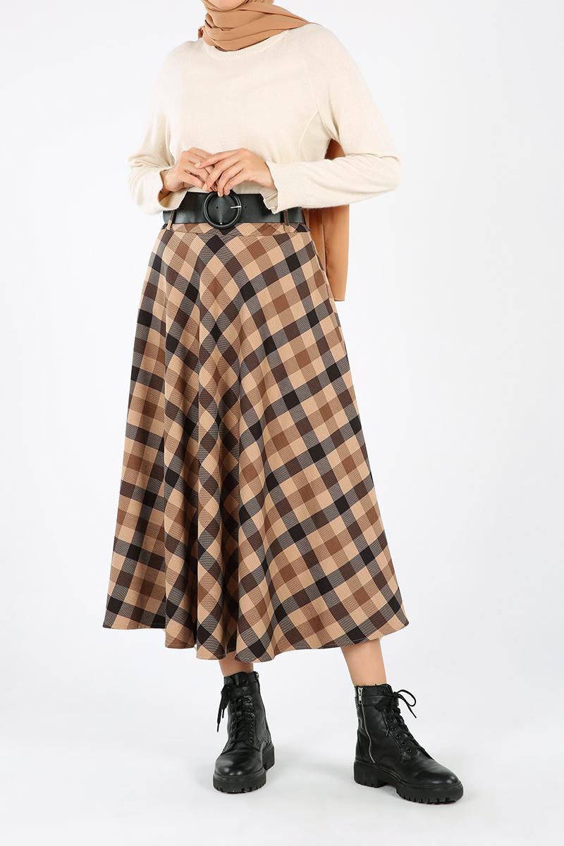 Plaid Belted Zippered Skirt