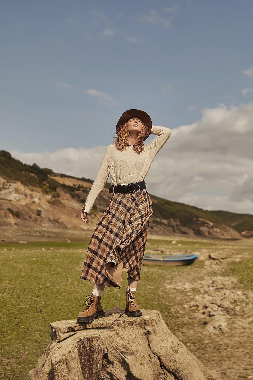 Plaid Belt Zipper Skirt