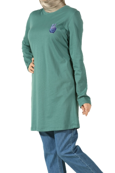 HAND PRINTED COMBED COTTON TUNIC