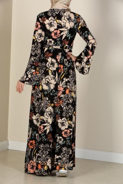 Çiçek Desenli Volanlı Elbise