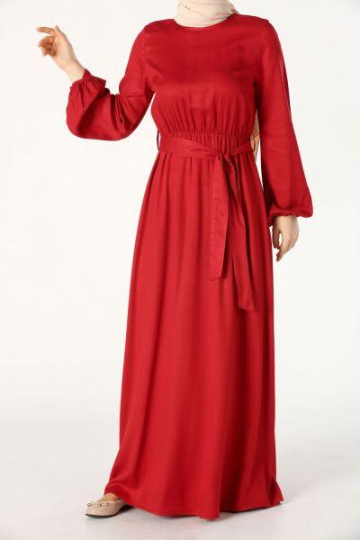 Bel Büzgülü Kuşaklı Elbise