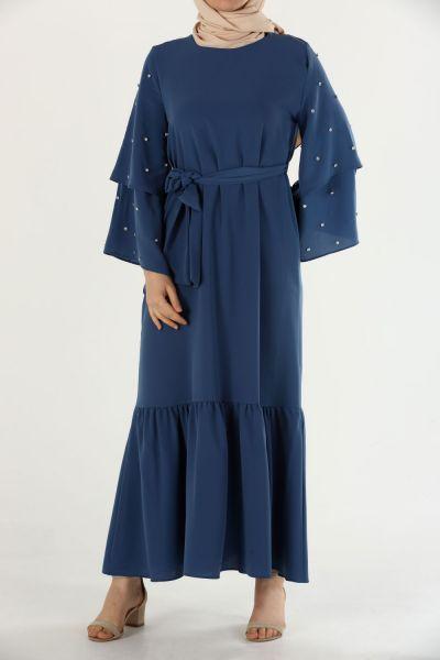 İncili Kuşaklı Eteği Fırfırlı Elbise