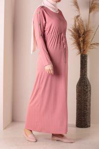 Bel Büzgülü Kol Düğme Detaylı Elbise