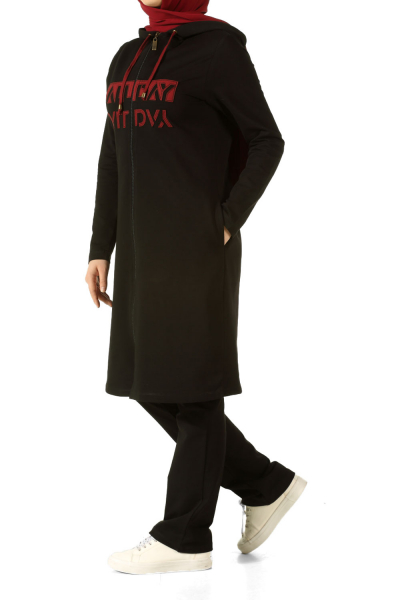 Plus Size Hooded Printed Track Suit