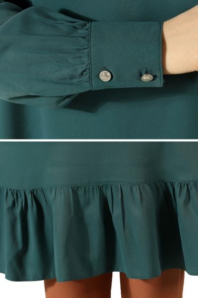 Viskon Eteği Büzgülü Kol Düğmeli Tunik