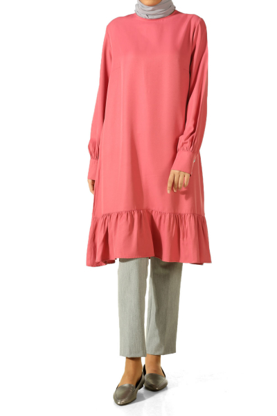 Viscose Skirt Gathered Cufflink Tunic