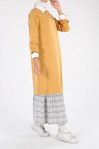 Eteği Ekose Garnili Elbise