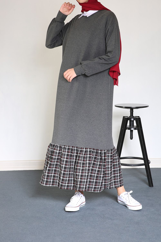 Yarece Eteği Ekoseli Penye Elbise