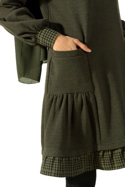 Eteği Fırfırlı Cepli Tunik