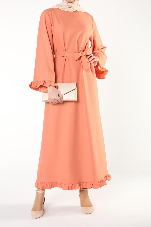 Eteği Fırfırlı Kuşaklı Elbise
