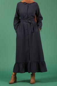 Eteği Fırfırlı Cepli Düğmeli Kemerli Elbise