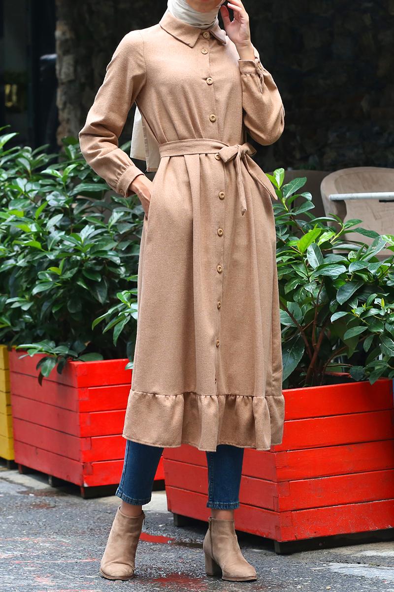 Eteği Fırfırlı Kuşaklı Düğmeli Cepli Elbise Tunik