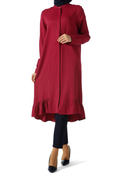 HIDDEN BUTTON TUNIC WITH FRILL HEM