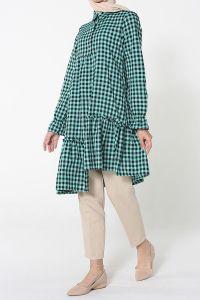 Eteği Fırfırlı Kareli Gömlek Tunik