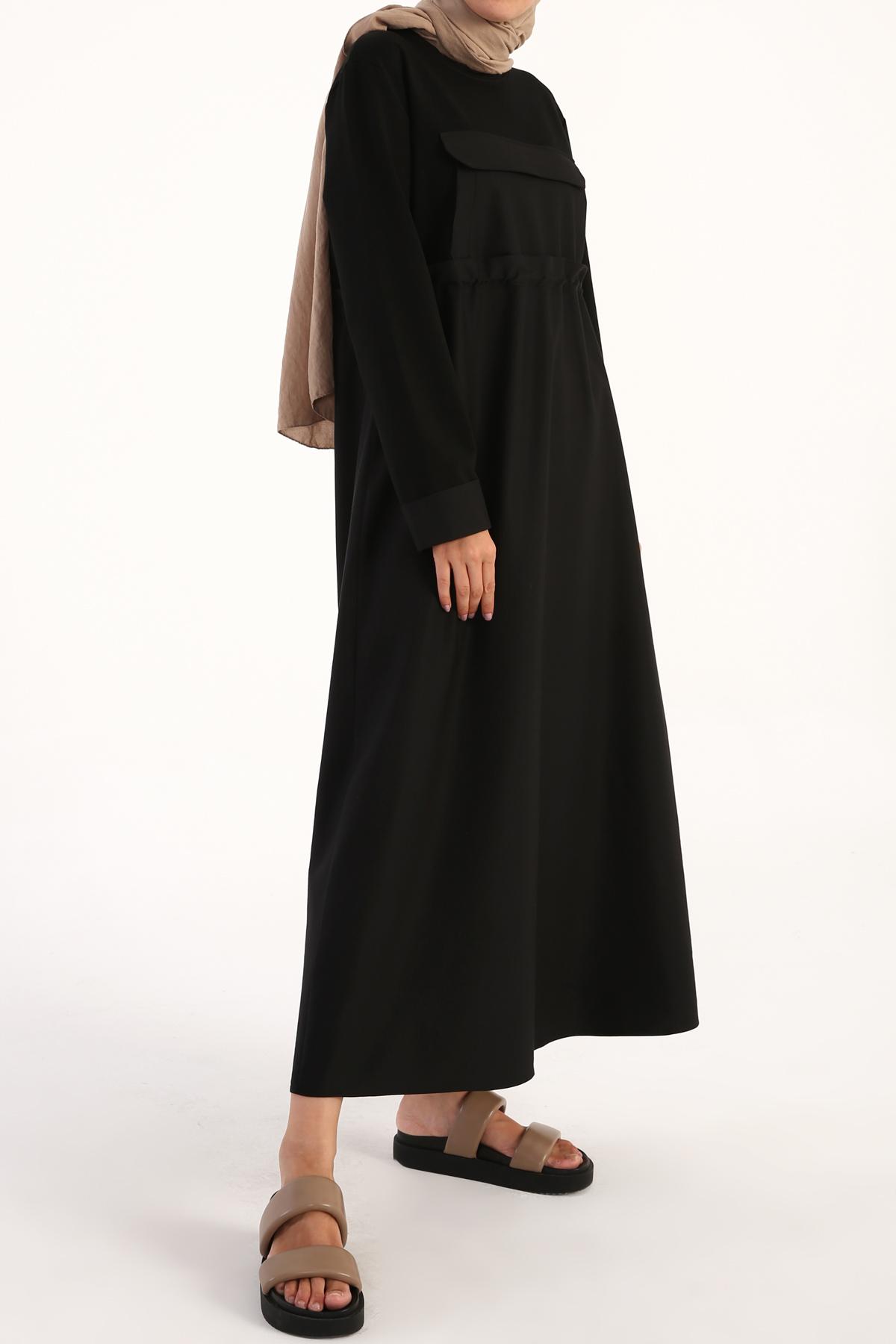 Pocket Detailed Elastic Waist Dress
