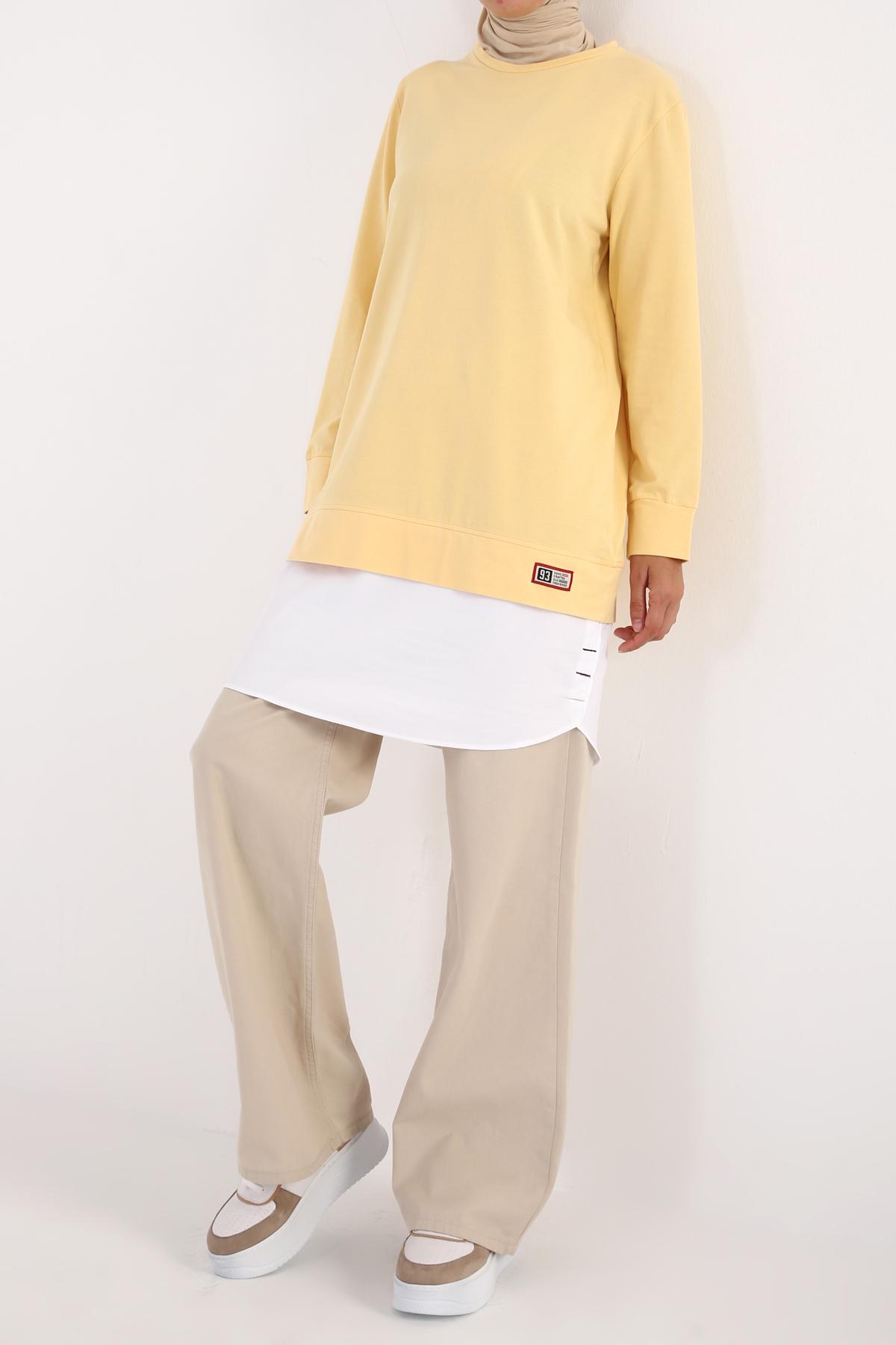 Hem Detailed Cotton Sweatshirt Tunic