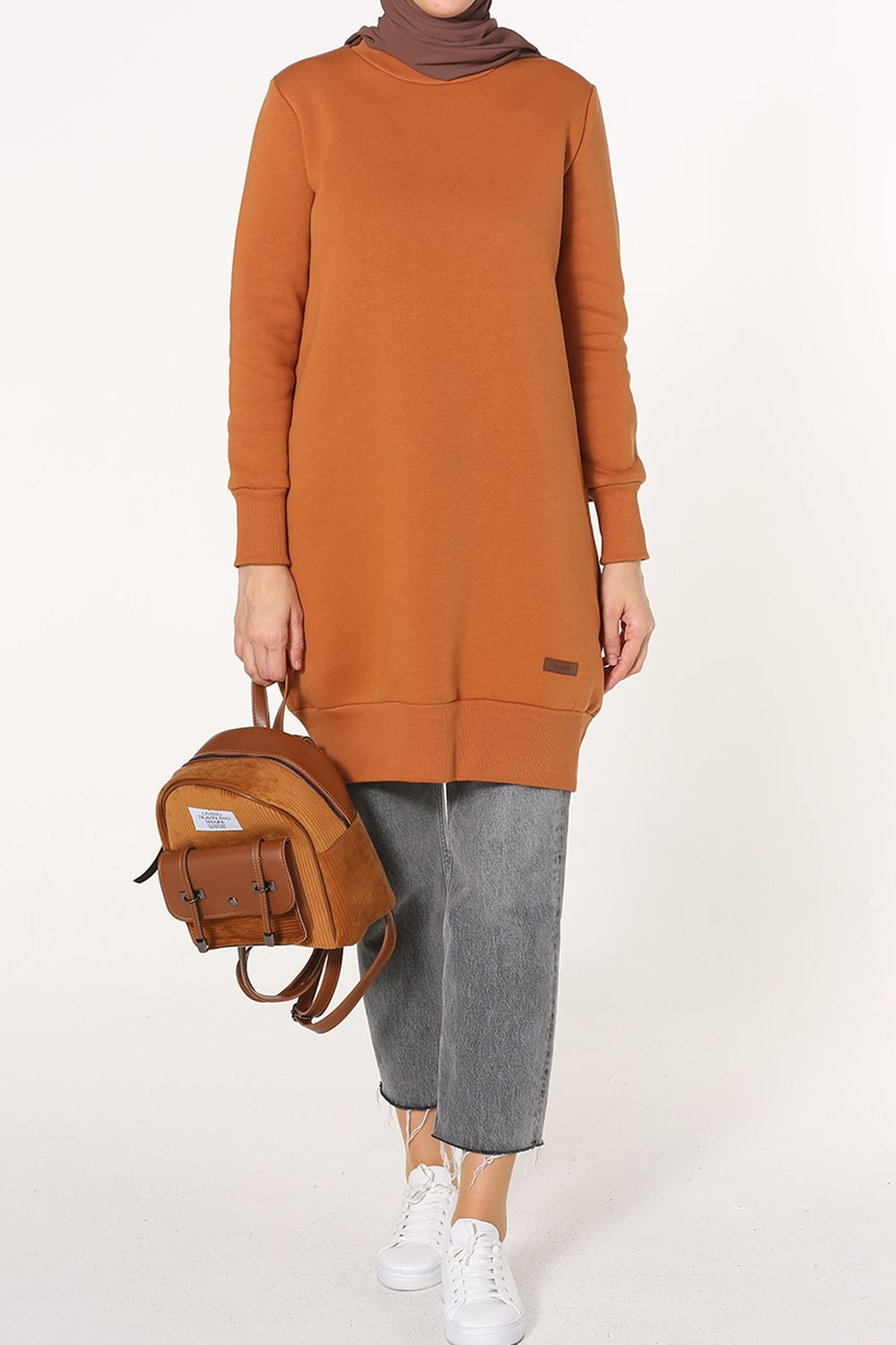 COMBED COTTON TUNIC WITH BANDED HEM