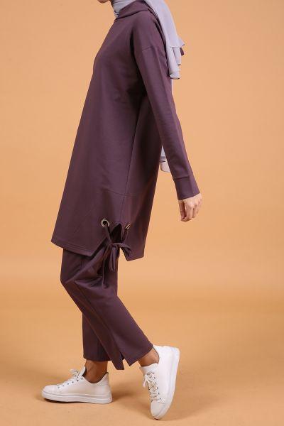Eteği Kuşgözü Detaylı Pantolonlu Takım