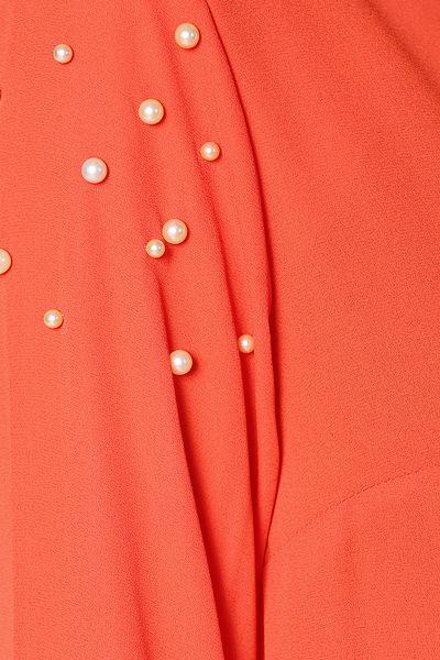 Eteği Plise İnci Detaylı Şifon Tunik