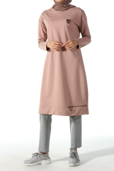 Zippered Combed Cotton Tunic With Emblem