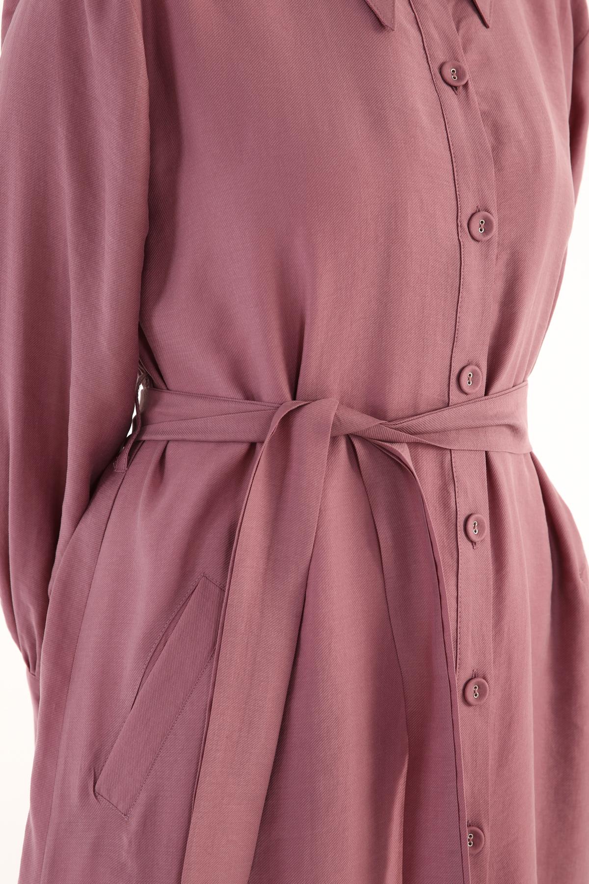 Flounce Hem Button Front Tencel Dress