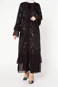 Etek Altı Plise Pullu Abaya