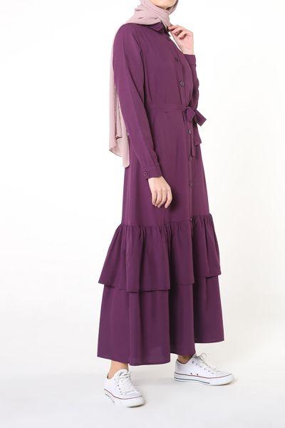 Etek Pileli Kuşaklı Gömlek Elbise