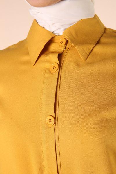 Viskon Etek Pileli Kuşaklı Gömlek Elbise