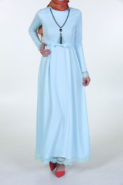 KOLYELİ SKIRT UNDER DANTELLI BELT DRESS