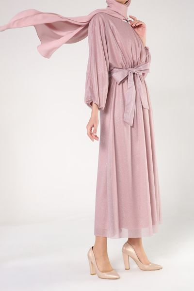 BELTED HIJAB EVENING DRESS