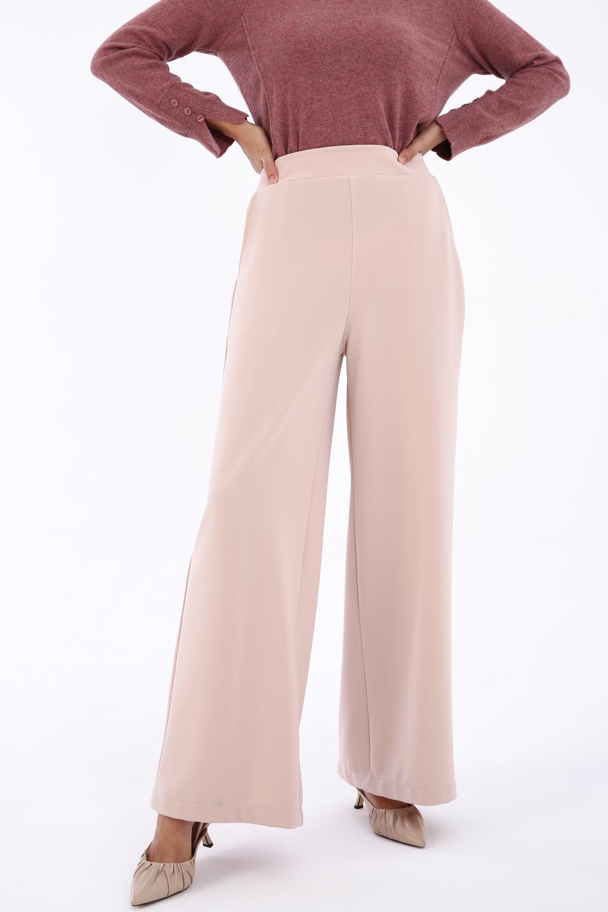 Jacquard Fabric Elastic Waist Pants