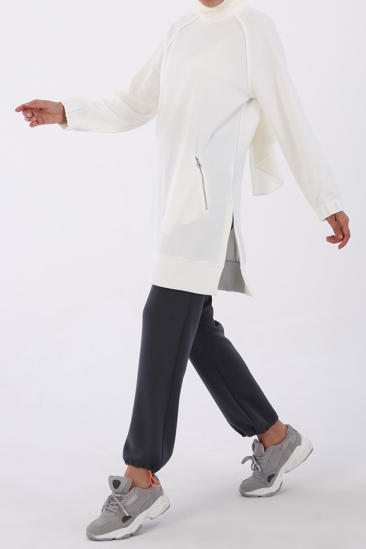 Jacquard Fabric Zipper Detailed Tunic