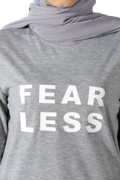 Fear Less Baskılı Penye Tunik