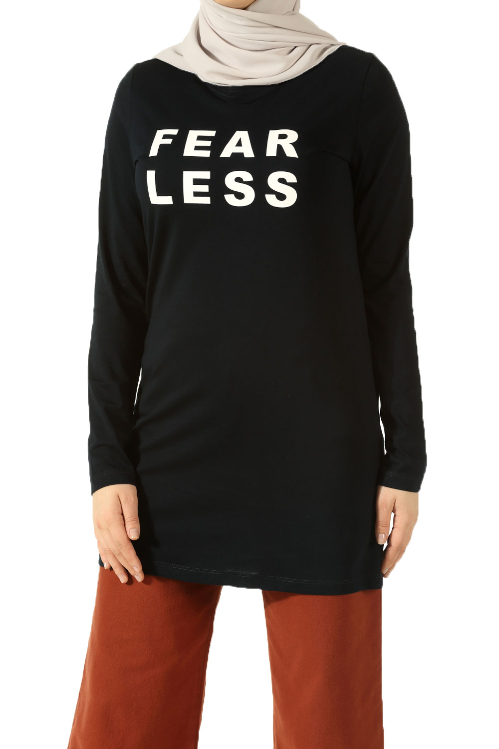 Fear Less Baskılı Penye Tunik