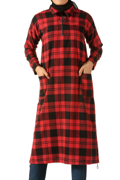 ZIPPERED DETAIL PLAID TUNIC