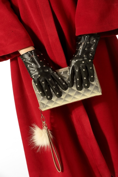 ZIP DETAIL STUDDED LEATHER GLOVES