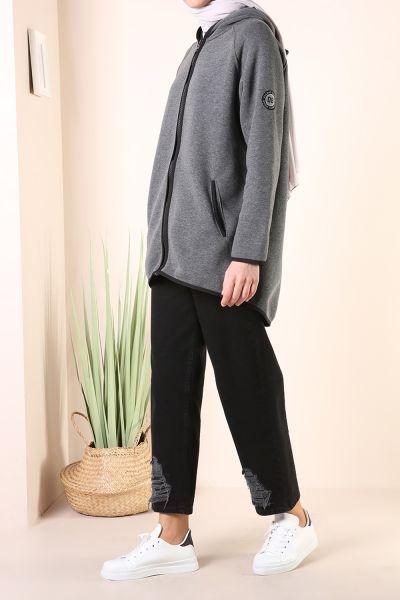 Pocket Zippered Hooded Cardigan