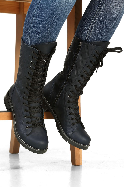 Fermuarlı Bağcıklı Çizme