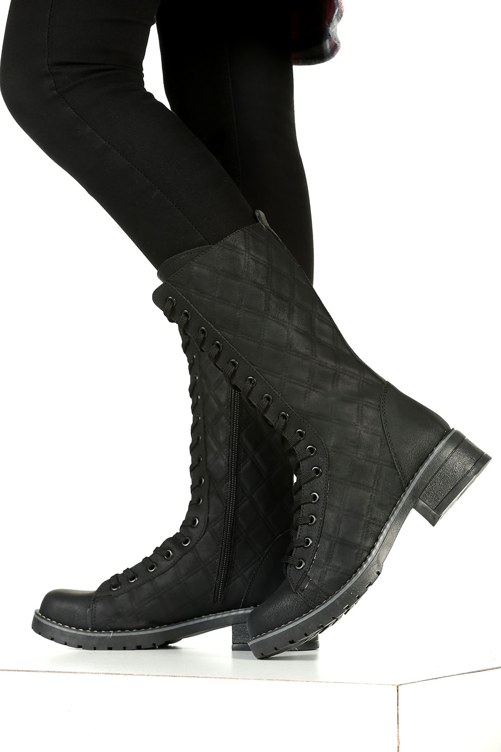 lace up boot with zipper
