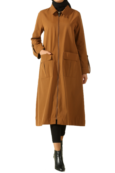 Zippered Pocket Trench Coat